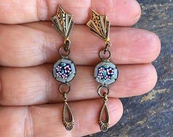 1stDayofSummerSALE Grey Micro Mosaic Mosaic Damascene Earrings Vintage 1920 1930 Renaissance Reign Bridal  Dangles
