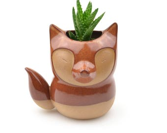 Cute fox ceramic planter - rust red - made in Brazil