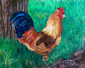 Rufus the Rooster 11x14 Acrylic Painting