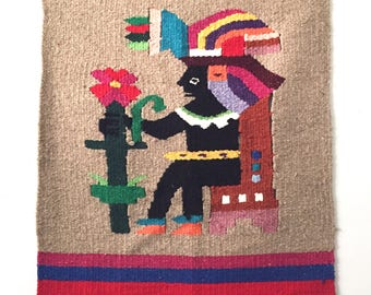 Peruvian God Wool Tapestry Wall Hanging with Fringe - Reversible