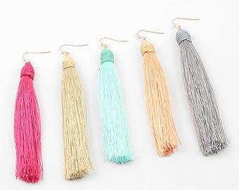 Gold Tassel Earrings, Tassel Earrings, Pink Tassels with Gold Ear Wires, Handmade Jewelry  Andromeda Fashion boho style, long tassel earring