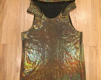 Mens hooded tank; holographic velvet hood shirt; mens rave tank; festival shirt; playa wear; burning man attire