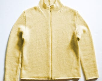 Vintage Butter Yellow Zip Front Cashmere Cardigan