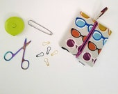 Square Notions Pouch, Sunglasses Notions Pouch, Knitting Notions Pouch, Flat Notions Bag, Crochet Notions Pouch, Stitch Marker Pouch