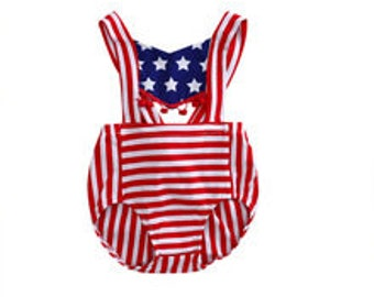 Patriotic, 4th of July red, white, blue Ruffle Infant Girl Baby Romper