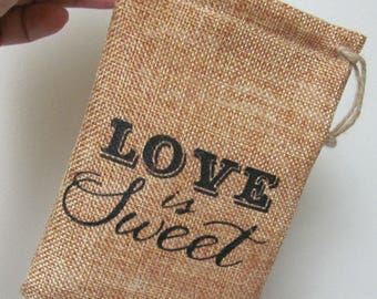 Love is Sweet Bags, Wedding Favor Bags, Bridal Shower Favor Bags, Engagement Party Favor Bags