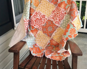 Couch Rag Quilt, Cotton Anniversary Gift, Orange Rag Quilt, throw rag quilt, picnic blanket, Ready to ship