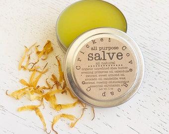SALVE -  All Natural Salve - All Purpose Salve - Solid Lotion - Organic Shea Butter Salve - Reusable Tin