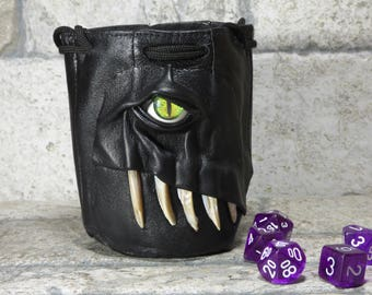 Dice Bag Marble Bag Fairy Pouch With Monster Face RPG LARP Drawstring Bag Rune Bag Magic The Gathering Gamer Gift Black Leather 822