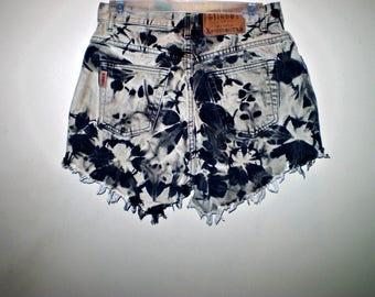 Grunge Molted Marbled Rocker High Waist Shorts VINTAGE