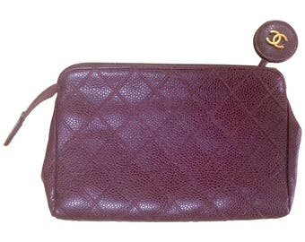 Vintage CHANEL wine brown caviar leather bicorole stitch cosmetic, toiletries pouch with golden CC charm pull.