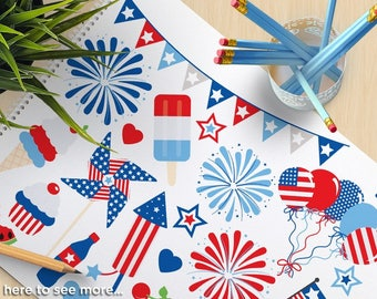 4th of July Party, Independence Day Clipart, BBQ, USA flag, Fireworks, Balloons, bunting, cupcake, commercial use, vector clipart, SVG cut