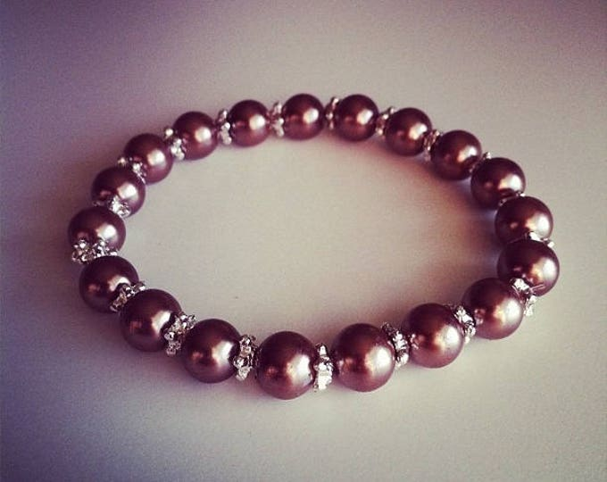 Bracelet beads taupe and silver flowers