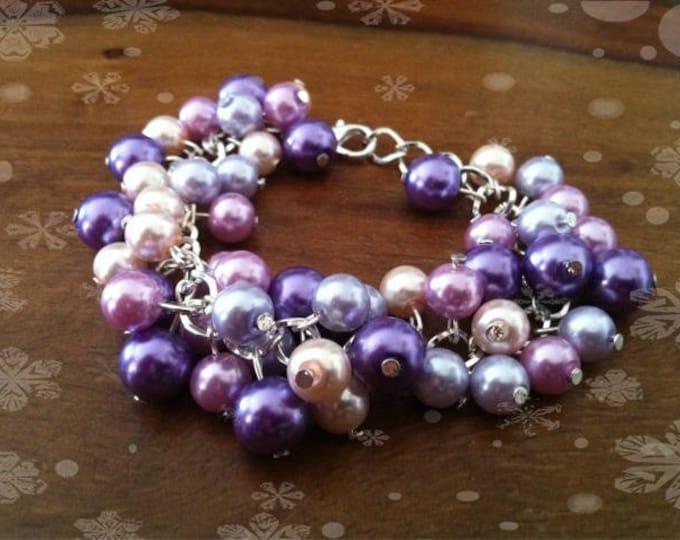 Powder Pink purple violet purple tone beads charm bracelet
