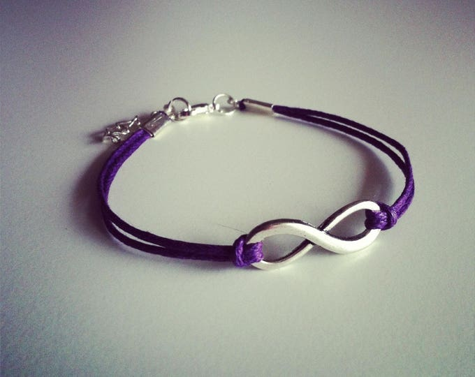 Purple waxed cord with Infinity sign bracelet