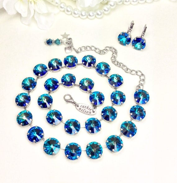 Swarovski Crystal 12MM Custom Bermuda Blue Necklace - Gorgeous Multi- Hued Ocean Blue-  Designer Inspired  -  - FREE SHIPPING