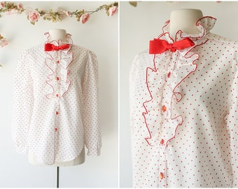 Vintage Polka Dot Blouse with Bow - Red and White Long Sleeved Secretary Blouse - 1970's Ruffled Blouse - Size Large