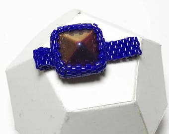 Copper Beaded Ring Beadwork Ring Peyote Ring Navy Beaded Ring Bead Stitched Ring Seed Beaded Ring Pyramid Beaded Ring Beadwoven Ring