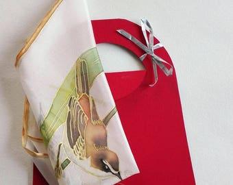 Silk pocket square, handmade handkerchief, nature lover gift, birds hankie white, small gift idea - ready to ship
