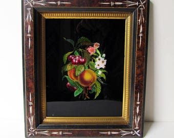 c.1875 Victorian Reverse Painting on Glass & Foil Aspects, Fruit/Flowers, Antique Eastlake Frame, Faux Burl Panel; Gold Fillet