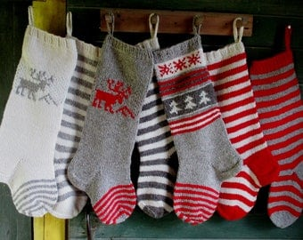 Christmas Stocking Personalized Hand knit Wool Grey Red White Deer Stripes Nordic Christmas decoration Christmas gift