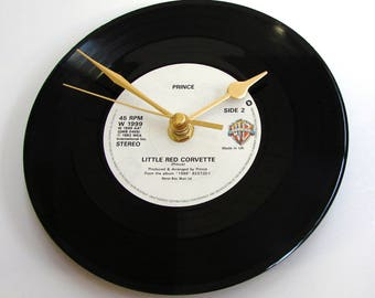 """PRINCE Vinyl Record CLOCK made from recycled 7"""" single of """"Little Red Corvette"""" purple power rain tears RIP pop king black and white"""