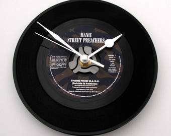 """The Manic Street Preachers Vinyl Record CLOCK """"M.A.S.H. Theme, Suicide Is Painless"""" made from a recycled 7"""" single, rock fans, army surgeon"""