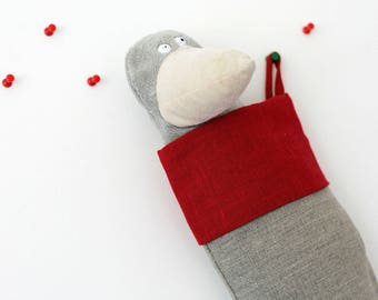 Stockings for Christmas decor, stocking from linen - gift idea for kids - holiday decor - grey with red top