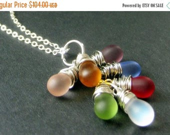 SUMMER SALE STERLING Silver Wire Wrapped Cluster Necklace with Frosted Glass Teardrop Charms. Handmade Jewelry.