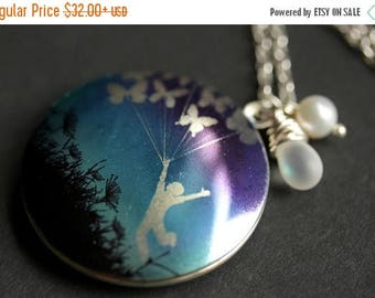 BACK to SCHOOL SALE Take Flight Necklace. Butterfly Balloons Locket Necklace with Frosted Glass Teardrop and Pearl Charm. Cobalt Blue Neckla
