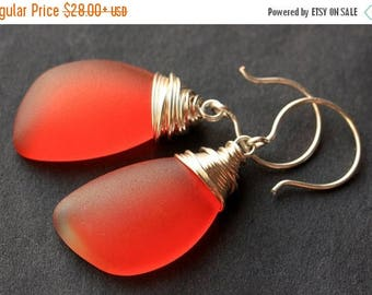 BACK to SCHOOL SALE Orange Seaglass Earrings. Orange Earrings. Sea Glass Earrings. Wire Wrapped Wing Earrings. Handmade Jewelry.