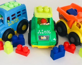 Car W/ Lego Blocks  6 piece Playset Personalized  3 piece minimum order