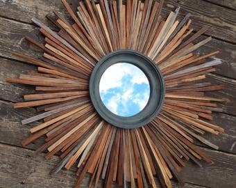 XL Natural Walnut Reclaimed Wood Sunburst Mirror, Gray Mirror, sunburst, READY to SHIP