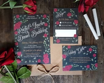 Chalkboard Rose wedding invitation pack x 40