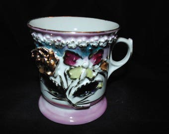 Vintage Porcelain Teacup Erphila Germany Raised Flowers Floral Gold Gilt Roses