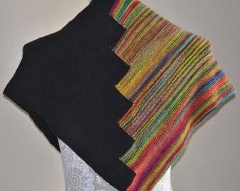 Hand Knit Rainbow Black Shawl - Vibrant Striped Shawl - Brightly Colored Triangle Shawl - Luxury Winter Accessory - Lightweight Shawl