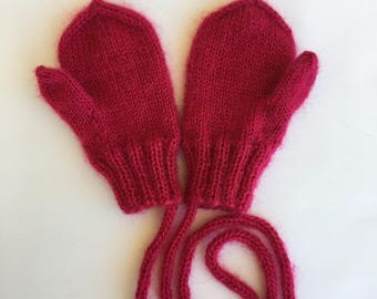 Hand knitted. Toddler mittens. Size for 12 months old. Winter outfit. Woolen knit mittens