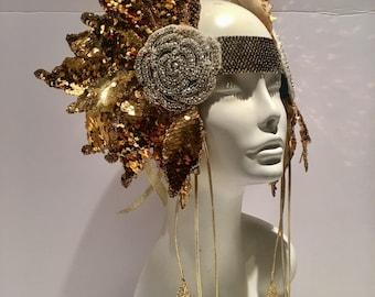 Gold headdress -Festival Wear- Goddess headpiece -Tribal Headdress- Burner Headpiece- Boho- Music Festival -Queen Crown