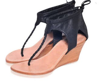 SALE. Sz. 8.5. APHRODITE. Leather wedges / leather high heels / sandals / thong sandals.