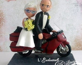Wedding cake topper - mature people on motorcycle