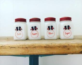 Milk Glass Canister Set