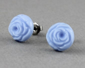 Blue Cabbage Rose - vintage glass button post earrings, repurposed jewelry, up-cycled jewelry
