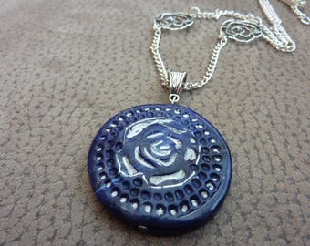 Necklace short blue and silver polymer clay