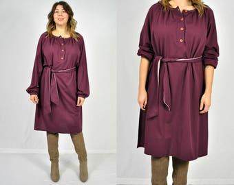70s Purple Tunic / Purple Dress / Plum Tunic Dress / Slouchy Boho Dress / Purple Belted Dress / Boho Peasant Dress / Belted Tunic