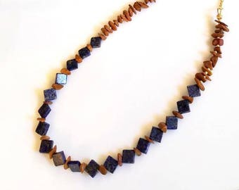 denim blue sodalite gemstone necklace brown tigereye jasper chip necklace square bead stone boho necklace beaded delicate gold jewelry