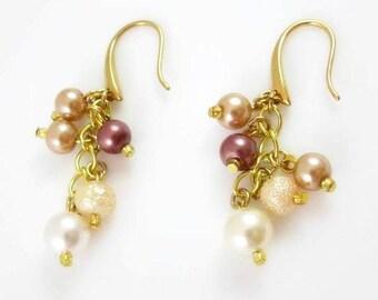 White Tan Brown Pearl Earrings Glass Pearl Cluster Earrings Hypoallergenic Nickel Free Earrings Multicolor Beaded Jewelry Gifts for Her