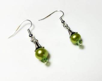 green freshwater pearl green crystal flower beadcap cone earrings hypoallergenic earrings nickel free earrings beaded dangle pearl jewelry