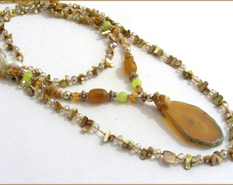 Agate necklace - Yellow, ochre, amber - stone, mother of Pearl, Crystal