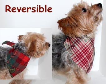 Christmas Dog Bandana, Small, Medium, Large Reversible tie-on bandanas for dogs, Holiday Plaid, In Stock, Fashion Dog Clothes