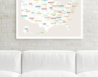 United States Map Etsy - Us map wall decor